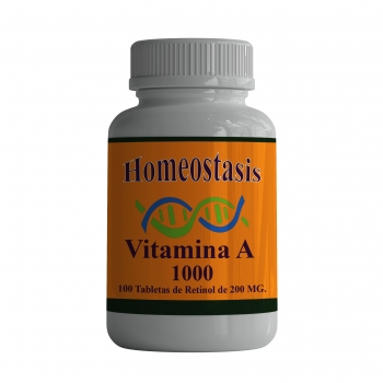 Vitamina A. 100 Tabletas de 200 mg.