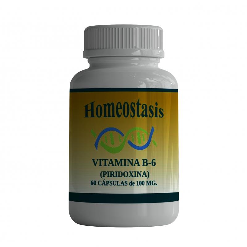 Vitamina B-6 (Piridoxina)  60 Cápsulas  de 100 mg.
